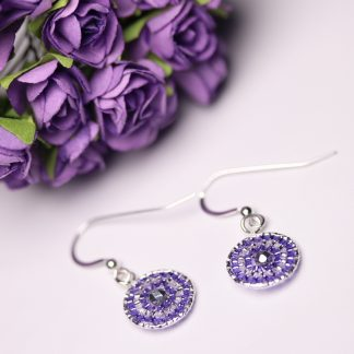 Sterling Silver Beaded Disc Earrings with Silver and Purple Seed Beads Image