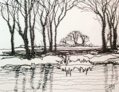 Black and white thread sketch of country scene done in machine stitches drawing as if the needle were a pencil