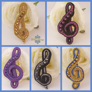 Soutache treble clef brooch MollyG Designs unique jewellery