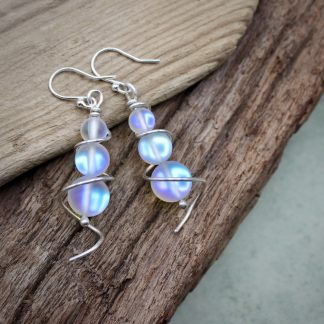 WT Mermaid Glass & Silver Earrings
