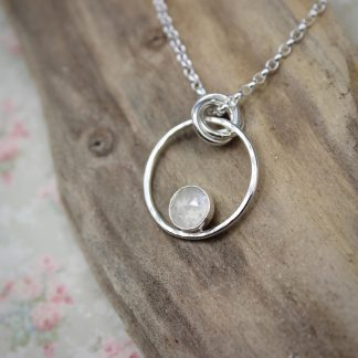 WT Sterling Silver Moonstone Necklace