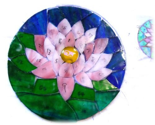Water lily stained glass suncatcher work in progrsss wip