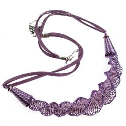 Handcrafted Lilac Wire Laramie Focal Kumihimo Necklace