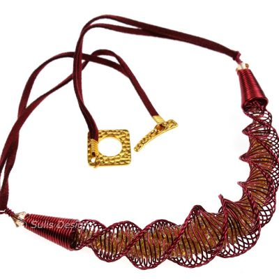 Handcrafted Wine Wire Laramie Focal Kumihimo Necklace