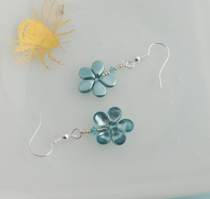 back and front of aqua glass flower earrings