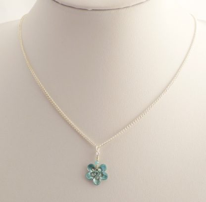 pale blue beaded flower necklace