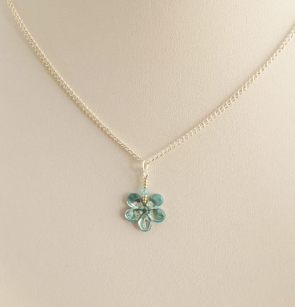 dainty turquoise flower necklace
