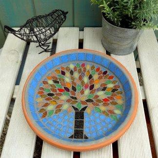 Mosaic bird bath with a unique handmade spring tree design created by josara