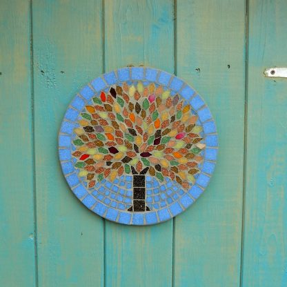 tree of life style design handmade mosaic garden hanging plaque