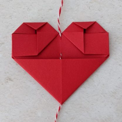 back of origami heart