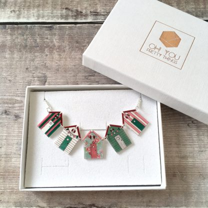 Pretty floral beach hut bunting necklace