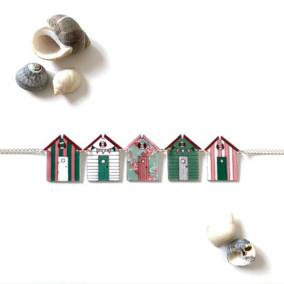 Pretty pink green beach hut bunting necklace