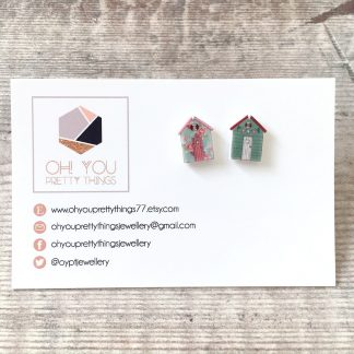 Cute mismatch beach hut stud earrings