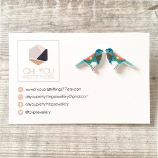 Blue geometric bird stud earrings