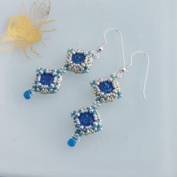 Blue and silver vintage style crystal earrings