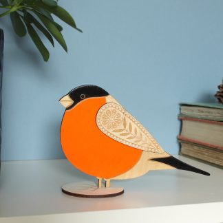 wooden hand painted bull finch decoration ornament