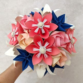 coral navy ivory origami bridal bouquet