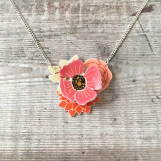 3D shrink plastic layered flower bouquet necklace for her