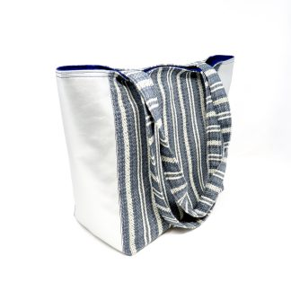 Blue and silver tote