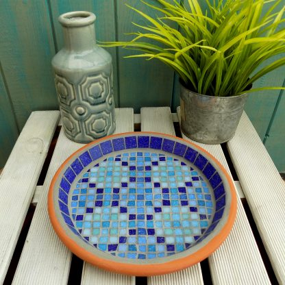 Moroccan inspired unique mosaic design water dish for garden wildlife