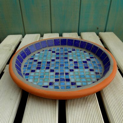 handmade mosaic birdbath with a unqiue Moroccan inspired design