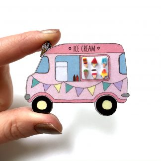 3D Ice cream van wooden handmade brooch