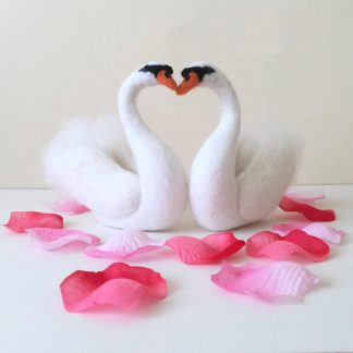 needle felted love swan sculptures