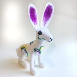 needle felted white floral hare sculpture