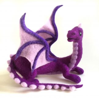 needle felted purple dragon sculpture