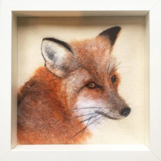 framed needle felted 2d fox picture
