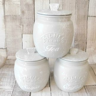 Grey White Marble Kitchen Canisters