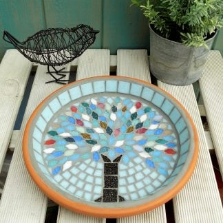 garden bird bath with a unique handmade winter tree design created by josara