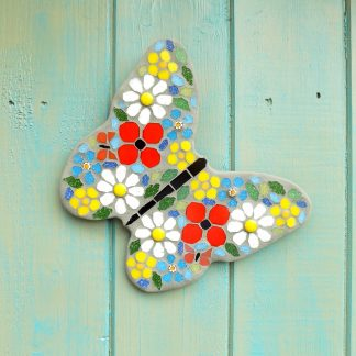 Mosaic butterfly hanging garden decoration with wildflower pattern wings