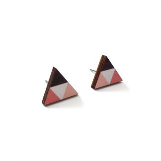 Handmade geometric wooden triangle stud earrings