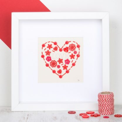 love heart button art personalised