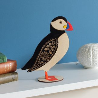 puffin standing hand painted wood etchablelaserdesign