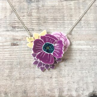 3D purple shrink plastic layered flower bouquet necklace for her