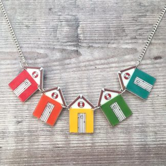 Pretty rainbow beach hut bunting necklace