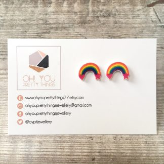 Rainbow colours stud earrings teen gift