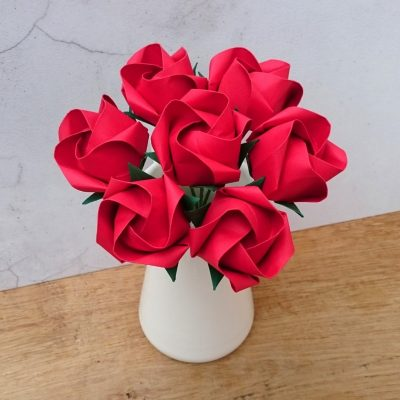 bouquet of red origami roses