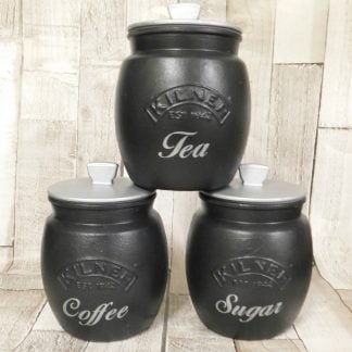 Black Silver Kitchen Canisters