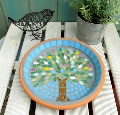Mosaic garden with a unique handmade spring tree design created by josara
