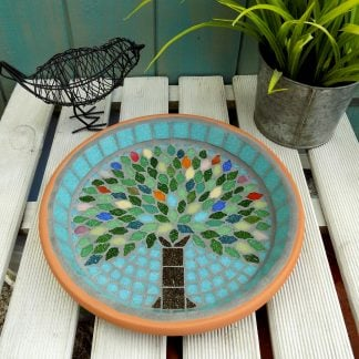 Mosaic bird bath with a unique handmade summer tree design created by josara