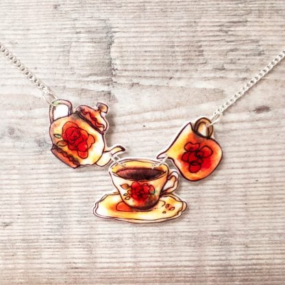 Vintage teapot tea cup statement necklace for Mother's Day
