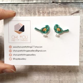 Green bird stud earrings gift for her