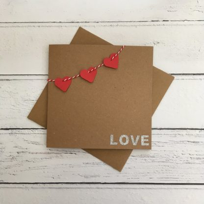 Crofts Crafts Valentine's Day card - heart bunting and glitter