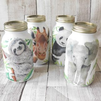Wildlife Elephant Giraffe Panda Sloth Jar Vase