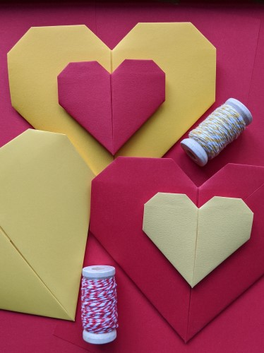 yellow and red paper hearts
