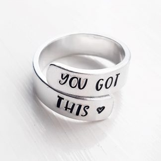 you got this hand stamped motivational wrap ring