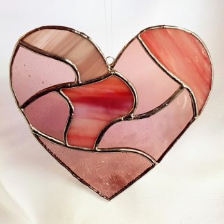 Pink patchwork stained glass heart